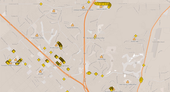 Murrieta Valley High School Traffic Ticket Map