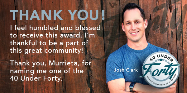 Josh Clark Murrieta Chamber 40 Under Forty Award